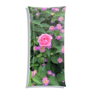 ピンクのお花 Clear Multipurpose Case