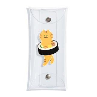 太巻きを自らに巻きつけて運ぶ猫 Clear Multipurpose Case