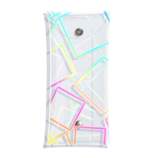 虹色のグラデーションの四角形 Clear Multipurpose Case