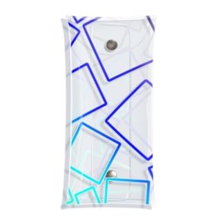 青色のグラデーションの四角形 Clear Multipurpose Case