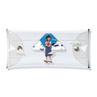紙飛行機_クリア Clear Multipurpose Case