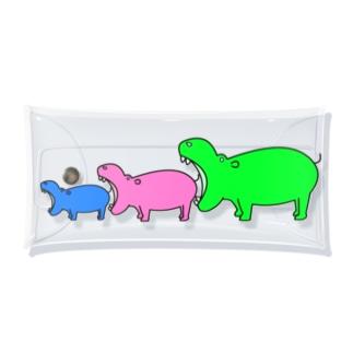 カバを食べようとするカバの縦型 Clear Multipurpose Case