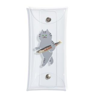 盗んだ焼きサンマと歩き出す猫 Clear Multipurpose Case