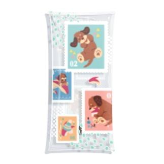 犬とうさりんごの仲良し切手柄 Clear Multipurpose Case