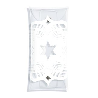 (白抜き)レースの幾何学模様な花 Clear Multipurpose Case
