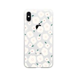 さちこのお花( アイボリー ) Clear smartphone cases