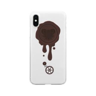 チョコ好きさんへ♪【ビターチョコ】healing-honey蝋封風ロゴモチーフ Clear smartphone cases
