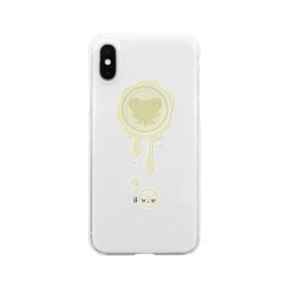 チョコ好きさんへ♪【ホワイトチョコ】healing-honey蝋封風ロゴモチーフ Clear smartphone cases