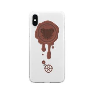 チョコ好きさんへ♪【ミルクチョコ】healing-honey蝋封風ロゴモチーフ Clear smartphone cases