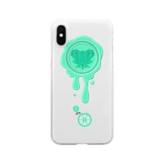 チョコ好きさんへ♪【チョコミント】healing-honey蝋封風ロゴモチーフ Clear smartphone cases
