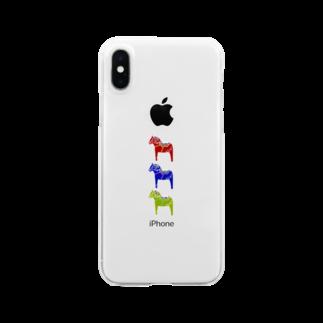 neuf -ヌフ-のダーラヘスト北欧の木の馬 Clear smartphone cases