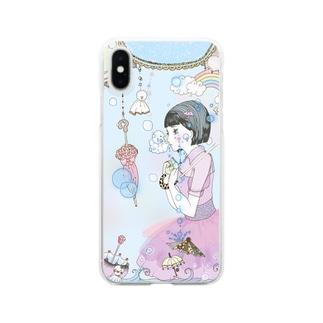 雨と女の子 Clear smartphone cases