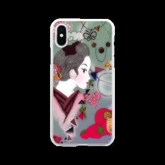 mamin520の桜と女の子 Clear smartphone cases