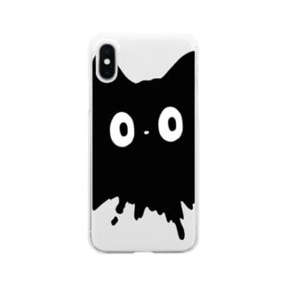ネコチャンは液体 黒 Clear smartphone cases