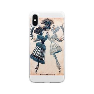 THORES柴本(トーレスしばもと) THORES Shibamotoの【シザーズクラウン】白黒鸚鵡貝羊たちの黙々 Clear smartphone cases