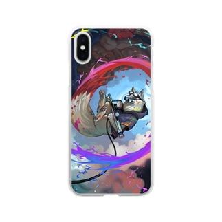 白いきつねのアーティスト Clear smartphone cases