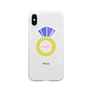 誕生石シリーズ(9月・サファイア) Clear smartphone cases
