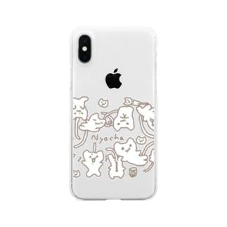にゃーちゃ、いっぱいにゃ Clear smartphone cases