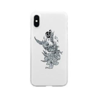 般若×スプリットタン Clear smartphone cases