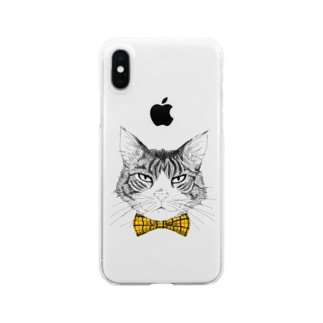 Charlie the  Cat(黄リボン) Clear smartphone cases