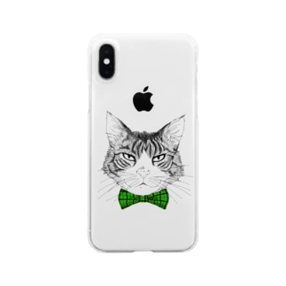 Charlie the  Cat(緑リボン) Clear smartphone cases