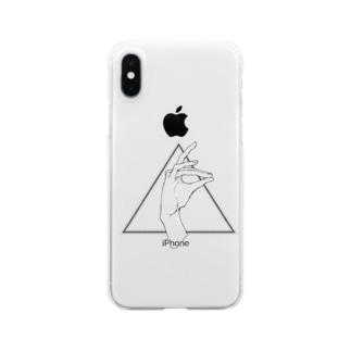 手遊び・狐 Clear smartphone cases