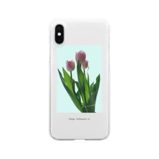 Tulip / pink blue Clear smartphone cases