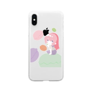 マカロン好きな女の子 背景なしバージョン Clear smartphone cases