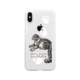 Snow leopard*ユキヒョウ あしあとクリアスマホケース Clear smartphone cases