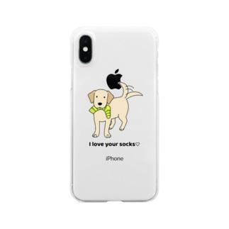ラブソックスイエロー Clear smartphone cases