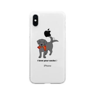 ラブソックスブラック Clear smartphone cases
