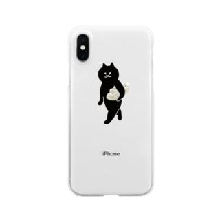 餃子をMacBookのように持ち運ぶ猫 Clear smartphone cases