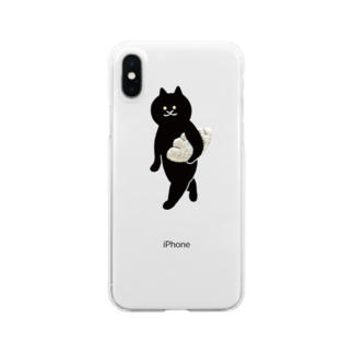 SUIMINグッズのお店の餃子をMacBookのように持ち運ぶ猫 Clear smartphone cases