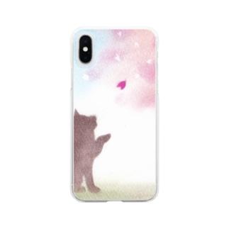 柴犬と桜 Clear smartphone cases