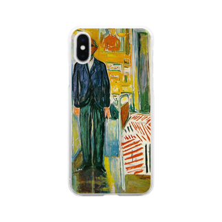 Art Baseのムンク / 1943 / Self-portrait. Between the clock and the bed / Edvard Munch Clear smartphone cases