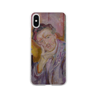 Art Baseのムンク / 1911 / Self-Portrait with Hand under Cheek / Edvard Munch Clear smartphone cases