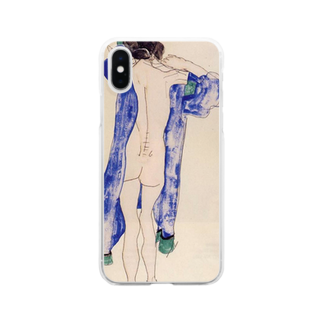 Art Baseのエゴン・シーレ / 1913 / Standing Female Nude in a Blue Robe / Egon Schiele Clear smartphone cases