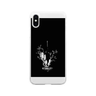 冬虫夏草 黒 Clear smartphone cases