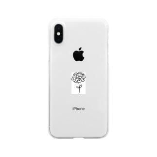 ペン画 ローズ Clear smartphone cases