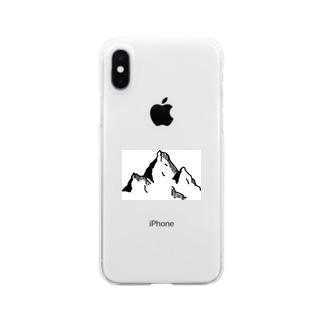 ペン画 山 Clear smartphone cases