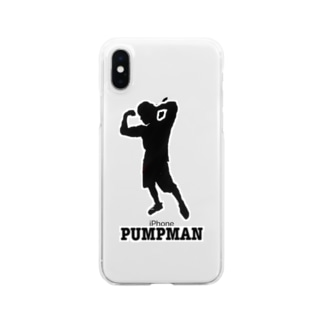 PUMPMAN(黒マーク) Clear smartphone cases