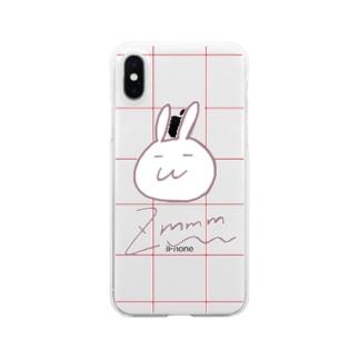 赤チェックなずもももちゃん Clear smartphone cases
