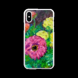 手描きやさんの油彩-花-(横) Clear smartphone cases