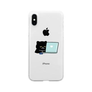 TAROPIのテレワークにゃんこ Clear smartphone cases