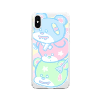 アジサイの織のSweet Bear Bear Bear Clear smartphone cases