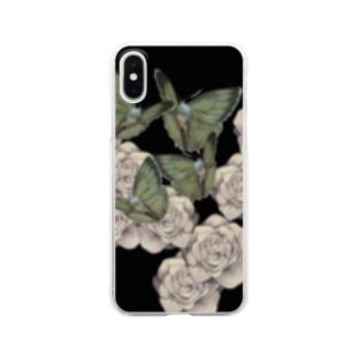 蝶と花畑 Clear smartphone cases