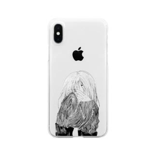 泣いてる(ように見える)女の子 Clear smartphone cases