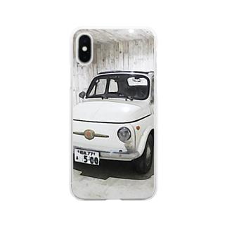 FIAT500 in garage Clear smartphone cases