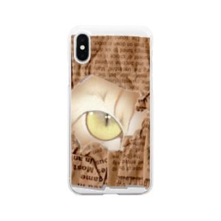 猫ちゃん、覗いてますけど・・・ Clear smartphone cases