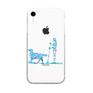 SUPdog フラットコーテッドレトリバー 青 Clear smartphone cases